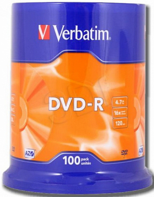 Диск DVD-R VERBATIM 4.7Gb (43549), Cake Box, 100 шт
